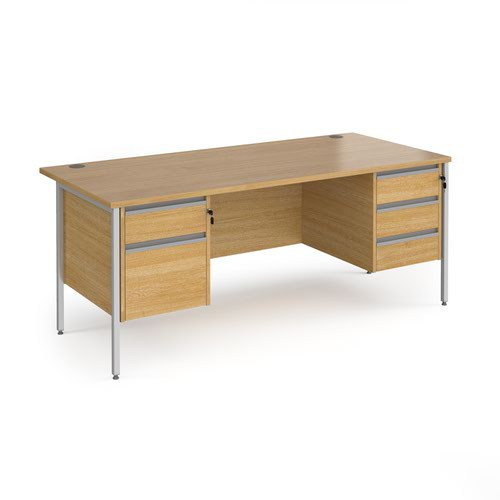Contract 25 straight desk with 2 and 3 drawer pedestals and silver H-Frame leg 1800mm x 800mm - oak top