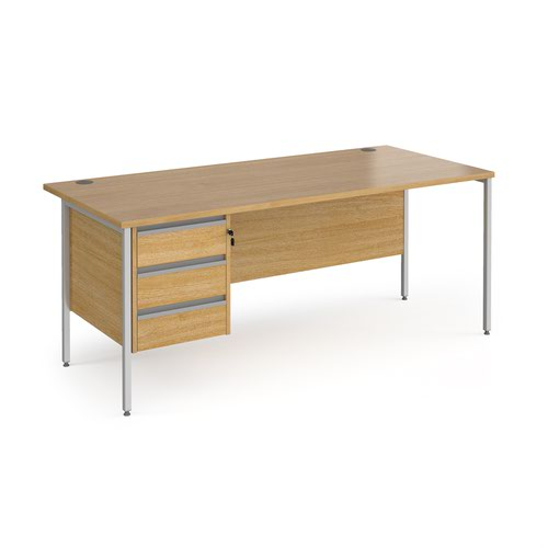 Contract 25 straight desk with 3 drawer pedestal and silver H-Frame leg 1800mm x 800mm - oak top
