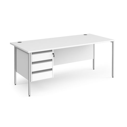 Contract 25 straight desk with 3 drawer pedestal and silver H-Frame leg 1800mm x 800mm - white top
