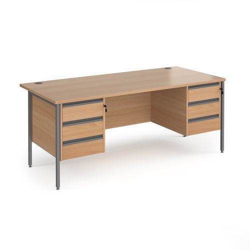Contract 25 straight desk with 3 and 3 drawer pedestals and graphite H-Frame leg 1800mm x 800mm - beech top