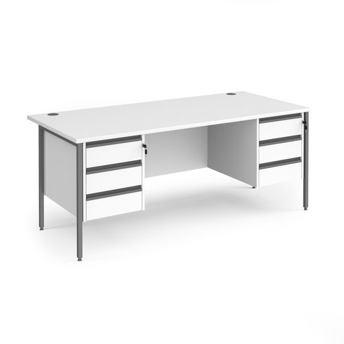 Contract 25 straight desk with 3 and 3 drawer pedestals and graphite H-Frame leg 1800mm x 800mm - white top
