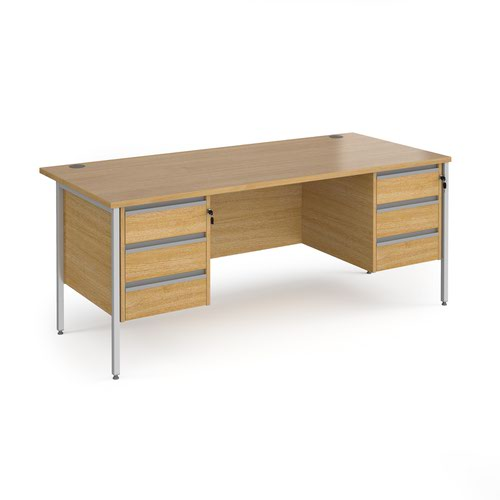 Contract 25 straight desk with 3 and 3 drawer pedestals and silver H-Frame leg 1800mm x 800mm - oak top