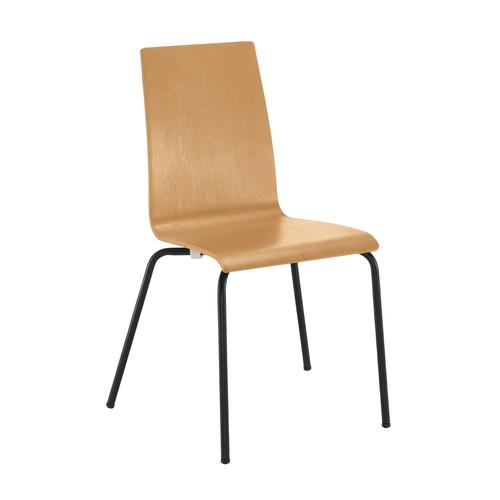 Image for Fundamental dining chair in beech with chrome frame (0)
