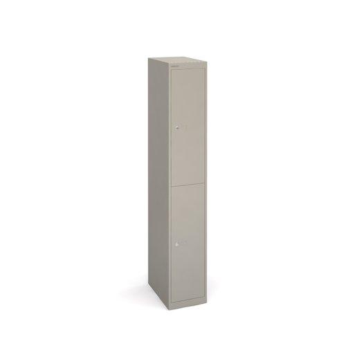 Bisley lockers with 2 doors 457mm deep - grey