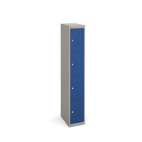 Bisley lockers with 4 doors 457mm deep - grey with blue doors