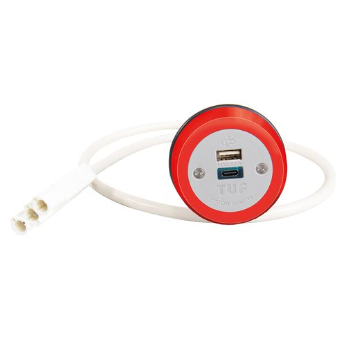 Cluster power module 1 x TUF (A&C connectors) USB charger - red
