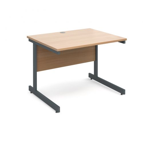 Image for Contract 25 straight desk 1000mm x 800mm - graphite cantilever frame and beech top