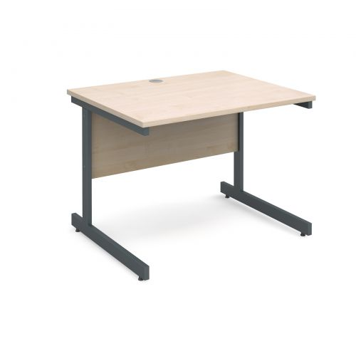 Image for Contract 25 straight desk 1000mm x 800mm - graphite cantilever frame and maple top
