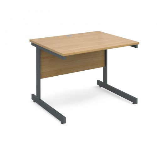 Contract 25 straight desk 1000mm x 800mm - graphite cantilever frame and oak top