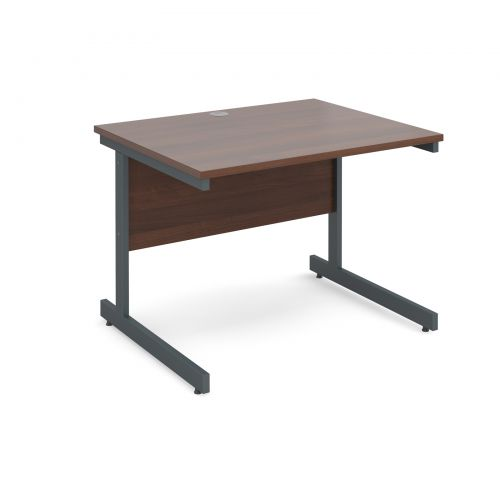 Image for Contract 25 straight desk 1000mm x 800mm - graphite cantilever frame and walnut top