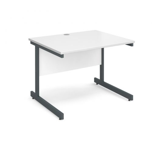 Image for Contract 25 straight desk 1000mm x 800mm - graphite cantilever frame and white top