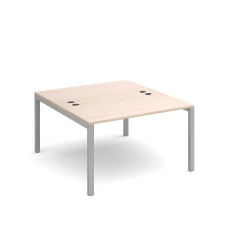 Connex back to back desks 1200mm x 1600mm - silver frame and maple top