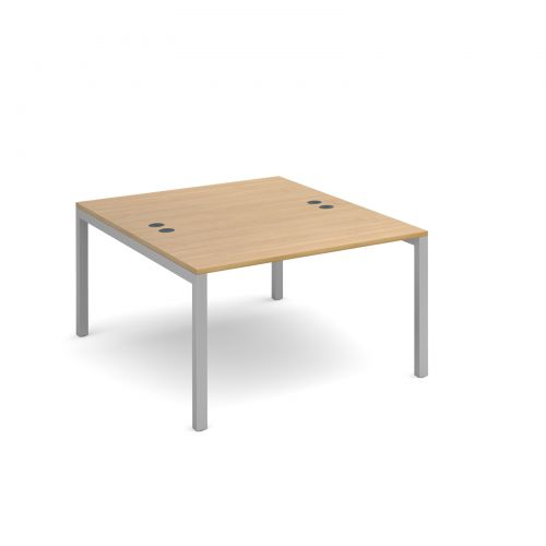 Connex back to back desks 1200mm x 1600mm - silver frame and oak top