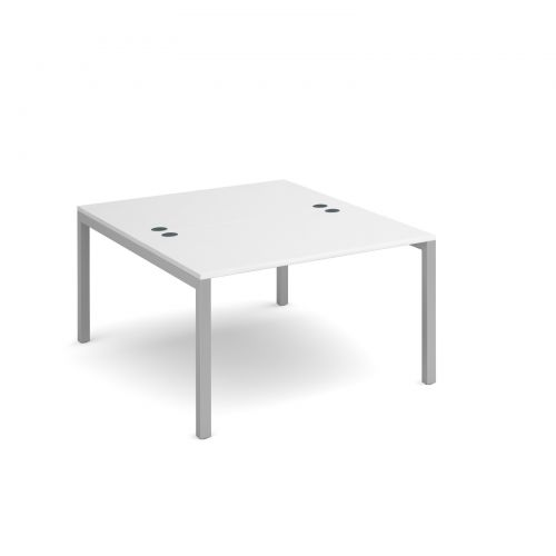 Connex back to back desks 1200mm x 1600mm - silver frame and white top