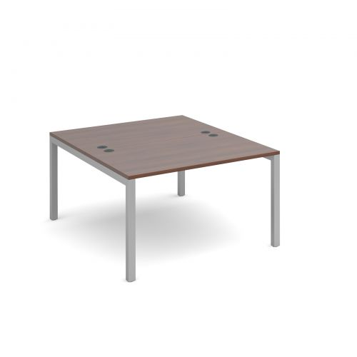Connex starter units back to back 1200mm x 1600mm - silver frame, walnut top