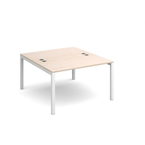 Connex back to back desks 1200mm x 1600mm - white frame and maple top