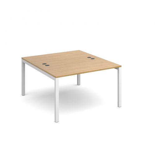 Connex back to back desks 1200mm x 1600mm - white frame and oak top
