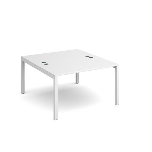 Connex back to back desks 1200mm x 1600mm - white frame, white top