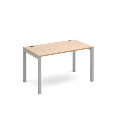 Connex single desk 1200mm x 800mm - silver frame and beech top
