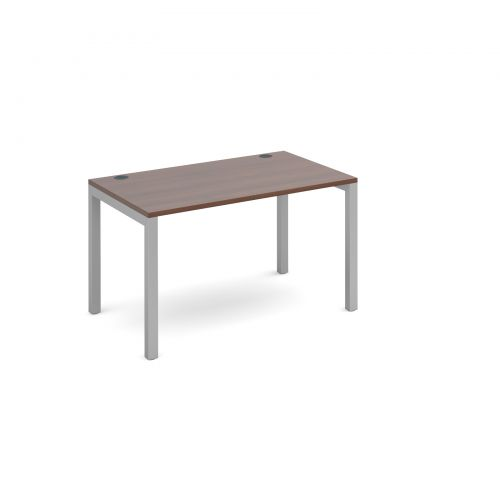 Connex single desk 1200mm x 800mm - silver frame and walnut top