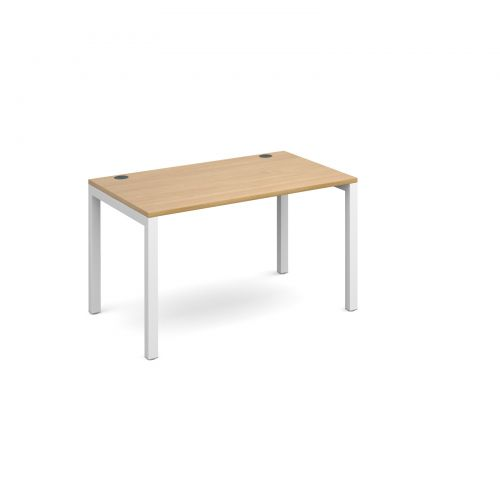 Connex starter unit single 1200mm x 800mm - white frame and oak top
