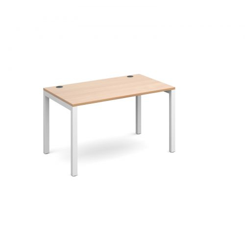 Connex single desk 1200mm x 800mm - white frame and beech top