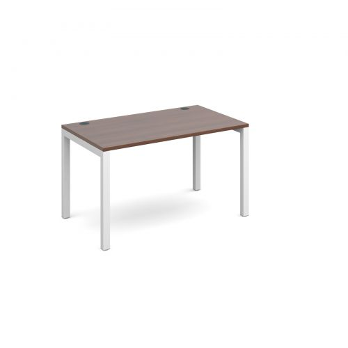 Connex single desk 1200mm x 800mm - white frame and walnut top