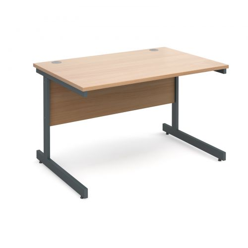 Contract 25 straight desk 1200mm x 800mm - graphite cantilever frame and beech top