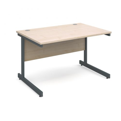 Contract 25 straight desk 1200mm x 800mm - graphite cantilever frame and maple top