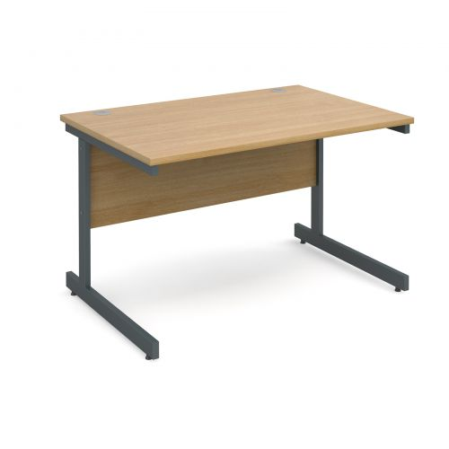 Contract 25 straight desk 1200mm x 800mm - graphite cantilever frame and oak top