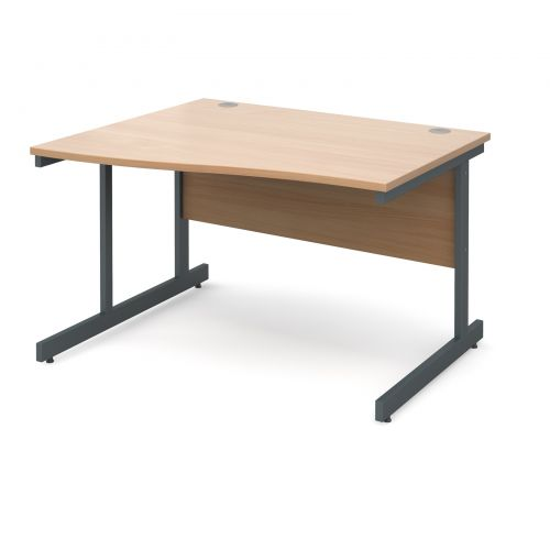 Contract 25 left hand wave desk 1200mm - graphite cantilever frame and beech top