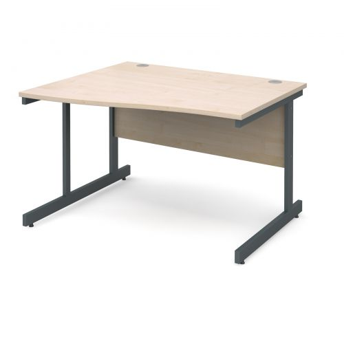 Image for Contract 25 left hand wave desk 1200mm - graphite cantilever frame and maple top