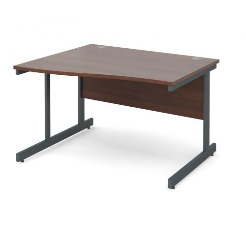Image for Contract 25 left hand wave desk 1200mm - graphite cantilever frame and walnut top