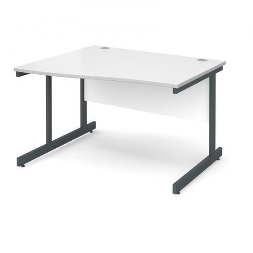 Image for Contract 25 left hand wave desk 1200mm - graphite cantilever frame and white top