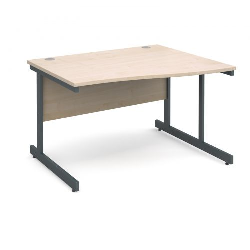 Contract 25 right hand wave desk 1200mm - graphite cantilever frame and maple top