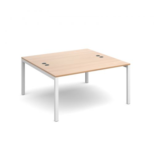 Connex back to back desks 1400mm x 1600mm - white frame and beech top