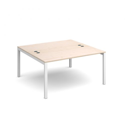 Connex back to back desks 1400mm x 1600mm - white frame and maple top