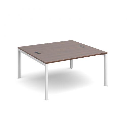 Connex back to back desks 1400mm x 1600mm - white frame, walnut top
