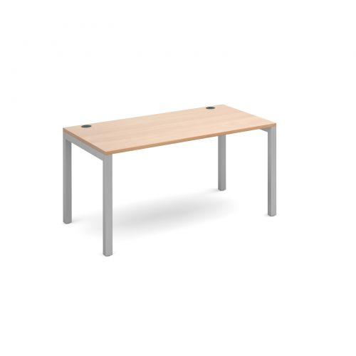 Connex single desk 1400mm x 800mm - silver frame and beech top