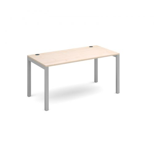 Connex single desk 1400mm x 800mm - silver frame and maple top