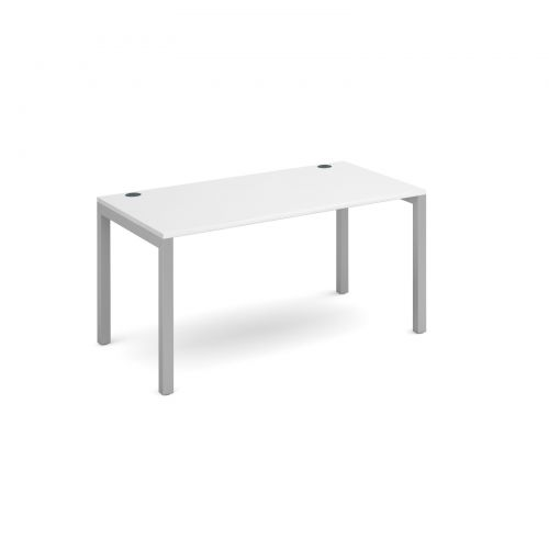 Connex single desk 1400mm x 800mm - silver frame and white top