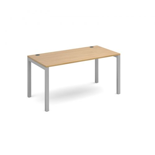 Image for Connex starter unit single 1400mm x 800mm - silver frame and oak top