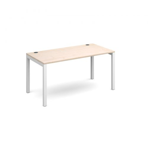 Connex starter unit single 1400mm x 800mm - white frame and maple top