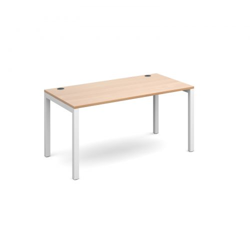 Connex single desk 1400mm x 800mm - white frame and beech top