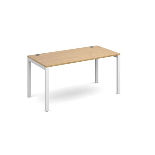 Connex single desk 1400mm x 800mm - white frame and oak top