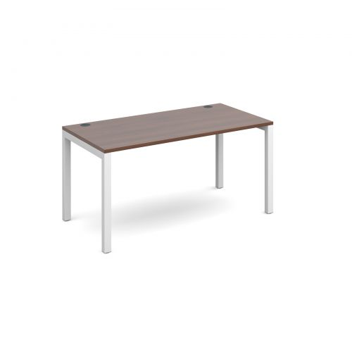 Connex single desk 1400mm x 800mm - white frame and walnut top