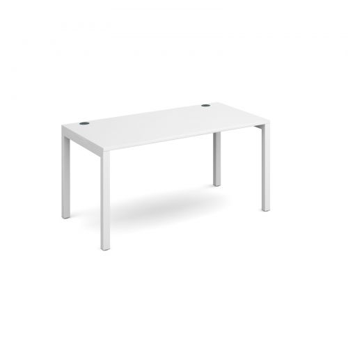 Connex single desk 1400mm x 800mm - white frame and white top