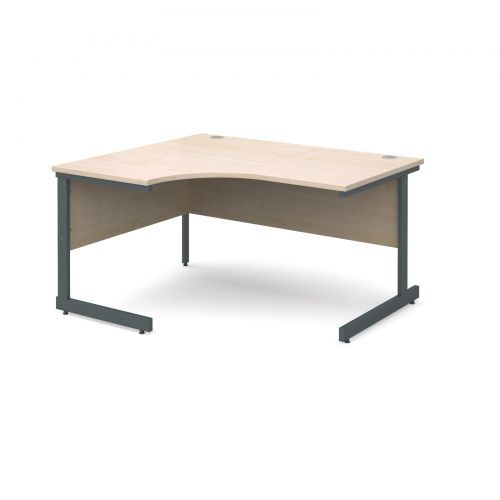 Contract 25 left hand ergonomic desk 1400mm - graphite cantilever frame and maple top