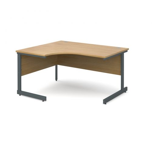 Contract 25 left hand ergonomic desk 1400mm - graphite cantilever frame and oak top