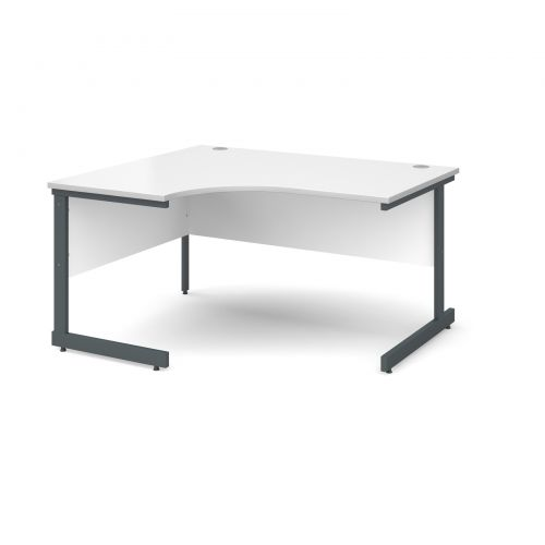 Image for Contract 25 left hand ergonomic desk 1400mm - graphite cantilever frame and white top